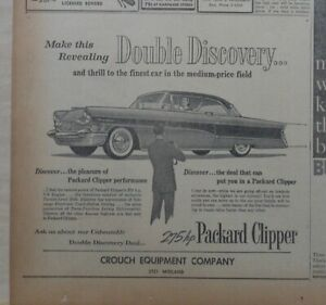 1956 newspaper ad for Packard - Clipper, Double Discovery, thrill to finest car