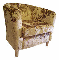 Tub Chair In Gilded-gold Crushed Velvet Fabric