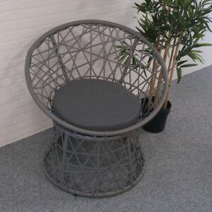 Rattan Sessel 2er Set Gartenstuhl Grau Mit Sitzkissen Outdoor