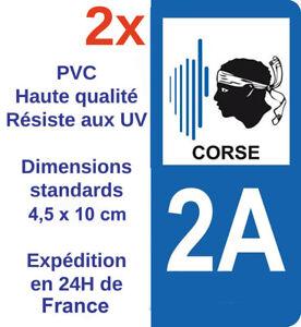 2 Stickers Autocollant Vinyle Plaque Immatriculation Département 2a Région Corse