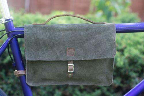 Frame Bag Natural Suede Leather GREEN Bike Bicycle Bag