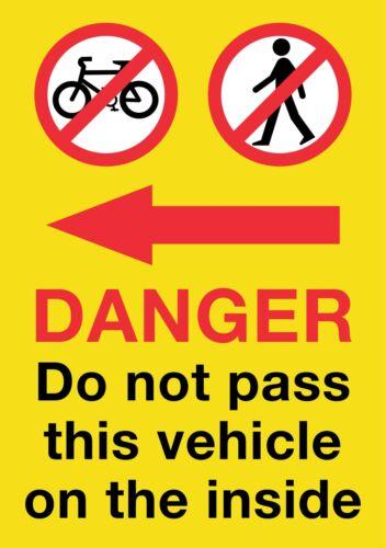 LARGE HGV//VAN//COACH Pedestrian Cyclist Warning Sticker 21x30cm Screen Printed