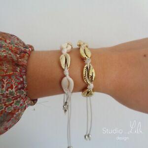 2-Bracelets-coquillages-dores-cordon-blanc-Studio-LiLi