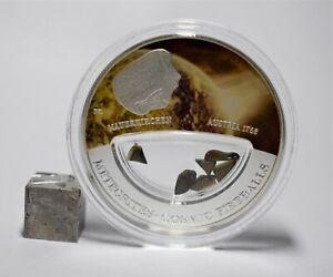 Meteorit-Mauerkirchen-Sondermuenze-Silber-999-Fiji-Cosmic-Fireballs-Muenze-Coin