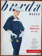 Burda Moden 2 / 1957 mit 2 Schnittbogen Modezeitschrift 50er Jahre
