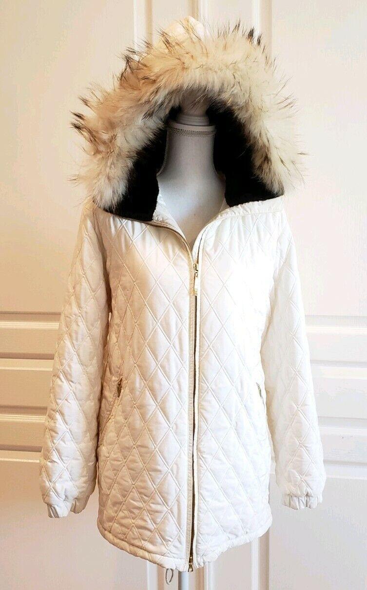 Post Card Ivory Ski Coat Down Quilted Fur Hood  Italian Designer Snow Gear  inexpensive
