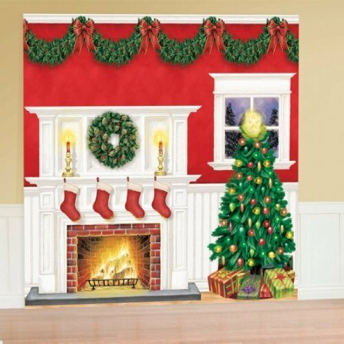 Giant Christmas Party Scene Setter Fire Place Tree Wall Decorating Kit Amscan Ne