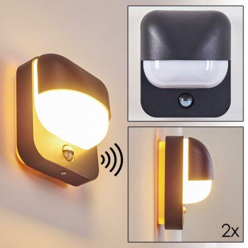 Noire Détecteur mvt Signalisation Extérieure mur Lampe Porche Cour terrasses 2er Set