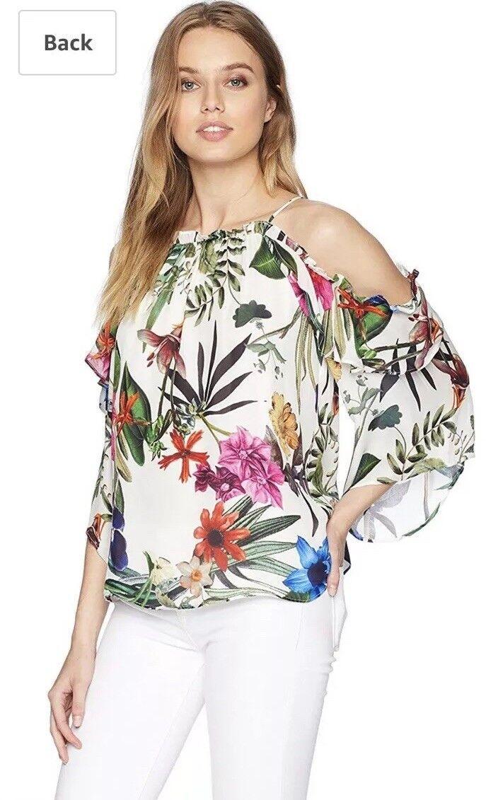 Parker NY damen Mildrot Cold Shoulder Floral Top Blouse Größe Small