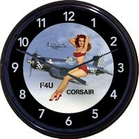 Corsair F4u Airplane Nose Art Pinup Wall Clock Navy Wwii Korean War Man Cave 10