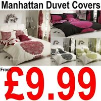 MANHATTAN Floral Polycotton Duvet Cover with Pillowcase Quilt Cover Bedding Set