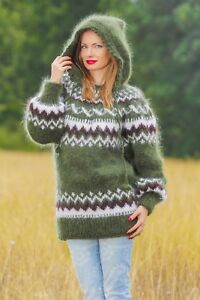 Green Sweater Icelandic Mohair Jumper Hood Hand Knitted Fuzzy Soft