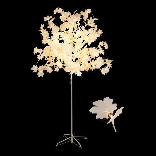 NEW 1.5M White Maple Leaf Tree With 150 Warm White LEDs -Premier Deco