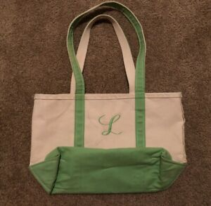 Details About Vtg Ll Bean Small White Green Canvas Boat And Tote Bag Made In Usa Maine