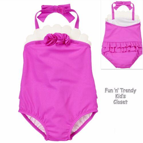 NWT Gymboree SWIM SHOP Girls Size 2T 3T Purple Sparkle Seashell 1-Piece Swimsuit