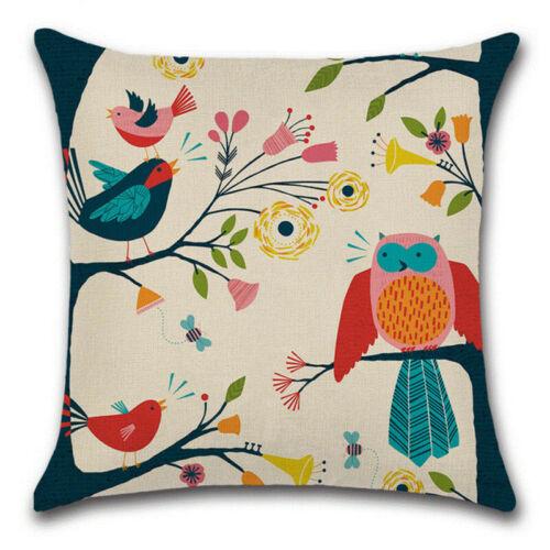 Vintage Cartoon Owl Cotton Linen Pillow Case Sofa Throw Cushion Cover Home Decor