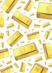 Solid Gold Bullion Bars Wallpaper A4