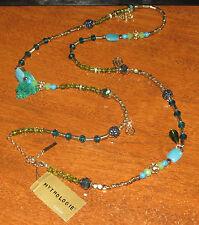 """Mythologie Gold Tone / faux turquoise 42"""" Necklace BEAUT!! NWT!!"""