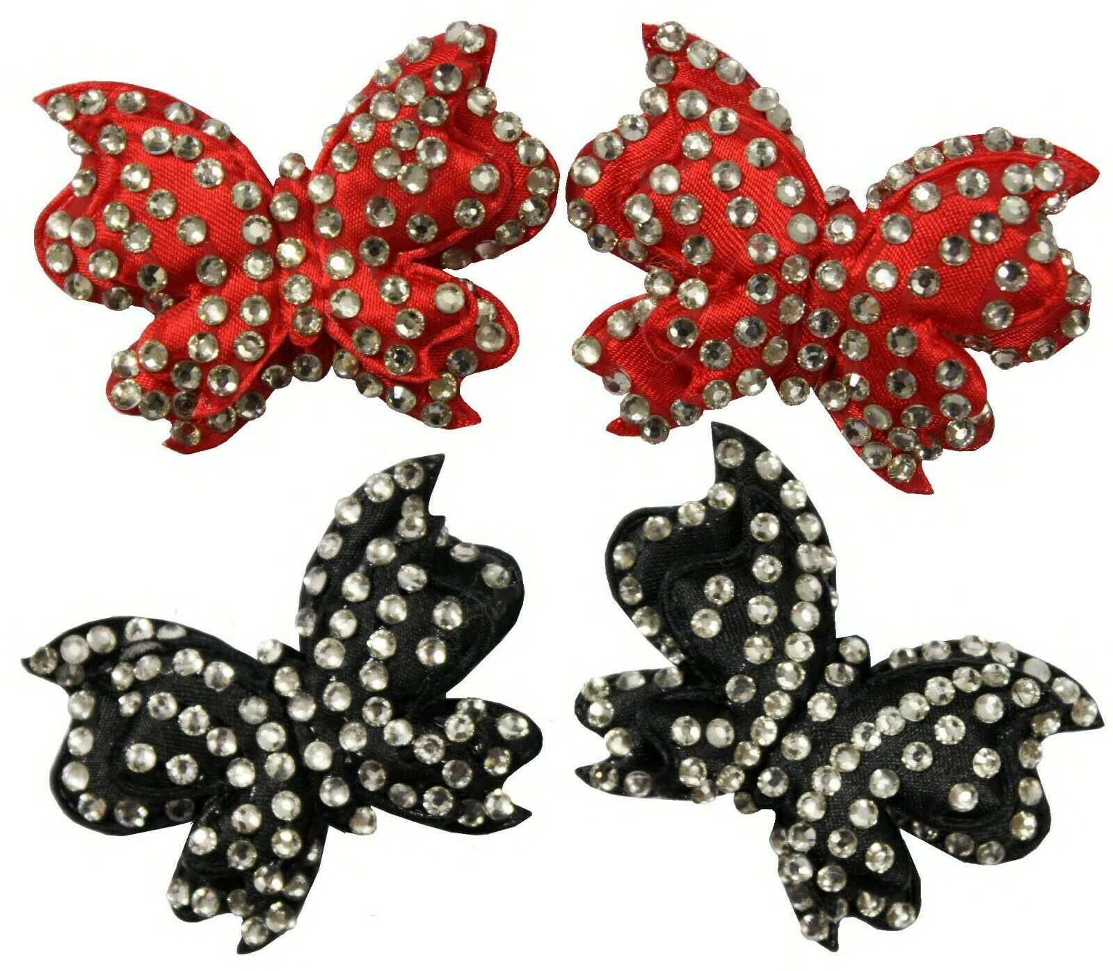 Christmas Bow Shoe Clips Satin Diamante Butterfly Black or Red Crystal X 2 C5D