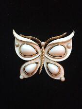 Vintage Crown Trifari White Enamel Cabochon Butterfly Brooch