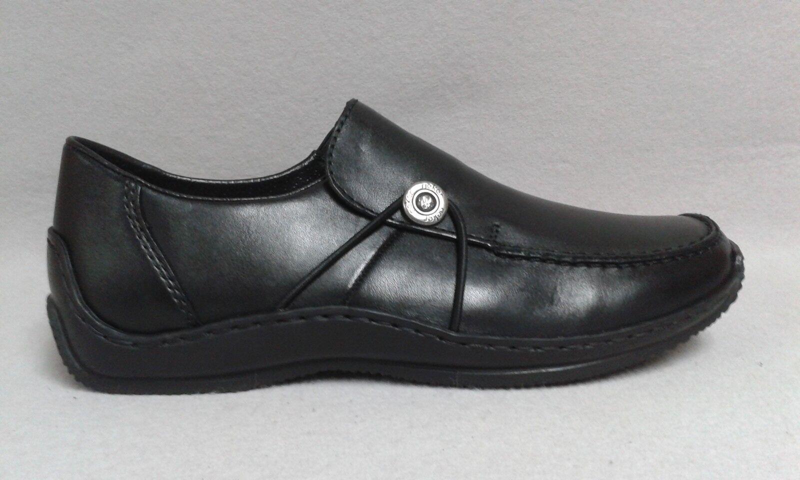 Rieker Slipper schwarz echt Leder sportlich bequem gepolstert Gummizug 0246 3