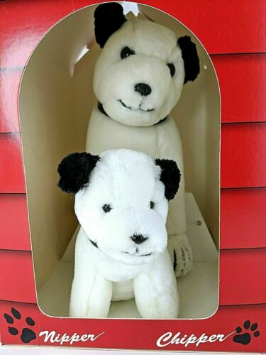 Vintage RCA Dogs Nipper And Chipper Plush In Doghouse NEW
