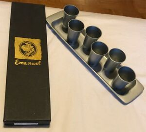 297a863b414 Yair Emanuel Anodized Aluminum 6 Kiddush Cups and tray Set - Made in ...