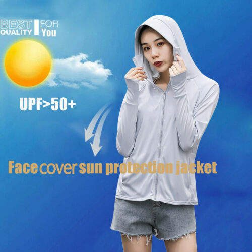Summer Womens Outdoor Sun Protective Hooded Coat Anti-UV Jacket Hat For Cycling
