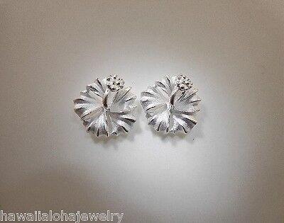 18mm Silver Hawaiian 14k Hibiscus Flower Pendant #2