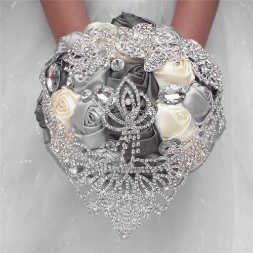 """10"""" Handmade Wedding Bridal Bouquet Satin Rose Crystal Brooch Rhinestone Crown"""