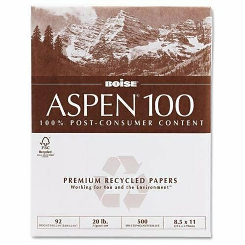 CASCADES 054922 Aspen 100% Recycled Office Paper, 92 Bright, 20lb, 8-1 2 X 11,