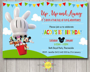 photo relating to Mickey Mouse Printable Birthday Invitations identify Facts over Printable Birthday Invitation Mickey Mouse Clubhouse Incredibly hot Air Balloon Any age