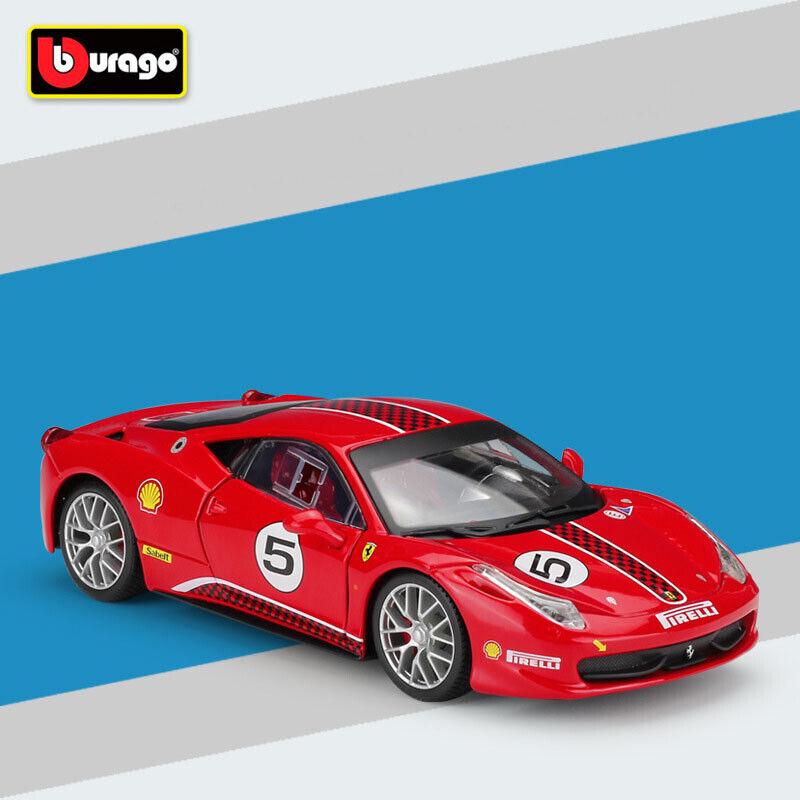 Bburago 1 24 skala Ferrari 458 Challenge tärningskast modellllerler (röd) bil leksak With Case