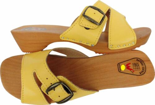 GELB e CLOGS  Holz Pantolette Gr.40 Echt Leder HOLZ Madein Poland 10-4-4-76