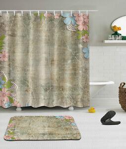 White Background Green Cactus Pattern Waterproof Fabric Shower Curtain Set 180cm
