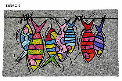 Zerbino tappetino ingresso FOXTROT Pesci Grigio Door Mat Coconut Fishes Grey