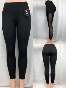 wide varieties los angeles outlet for sale Details about Womens YOGA Gym Leggings Fitness Black Mesh Pants #2119