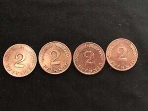 2 Pfennig 1970 F, J, D, G - Glückspfennig Jahreszahl D-Mark - 4 Münzen - Pulheim, Deutschland - 2 Pfennig 1970 F, J, D, G - Glückspfennig Jahreszahl D-Mark - 4 Münzen - Pulheim, Deutschland
