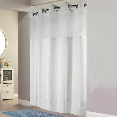 """White Hookless Escape 72/""""/"""" x 98/""""/"""" Fabric Shower Curtain and Liner Set"""