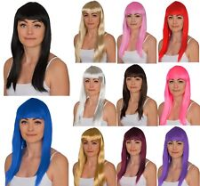 "WOMENS LADIES LONG 19"" STRAIGHT WIG FANCY DRESS COSPLAY WIGS POP PARTY COSTUME"