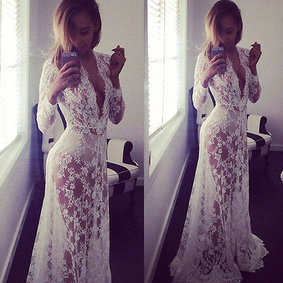 Sexy Lace Evening Party Ball Gown Formal Bridesmaid Cocktail Long Maxi Dress