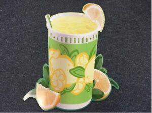 AUCTION-IS-FOR-TWO-SAME-SIZE-LEMONADE-LEMON-CUP-DRINK-CORRUGATED-PLASTIC-SIGNS