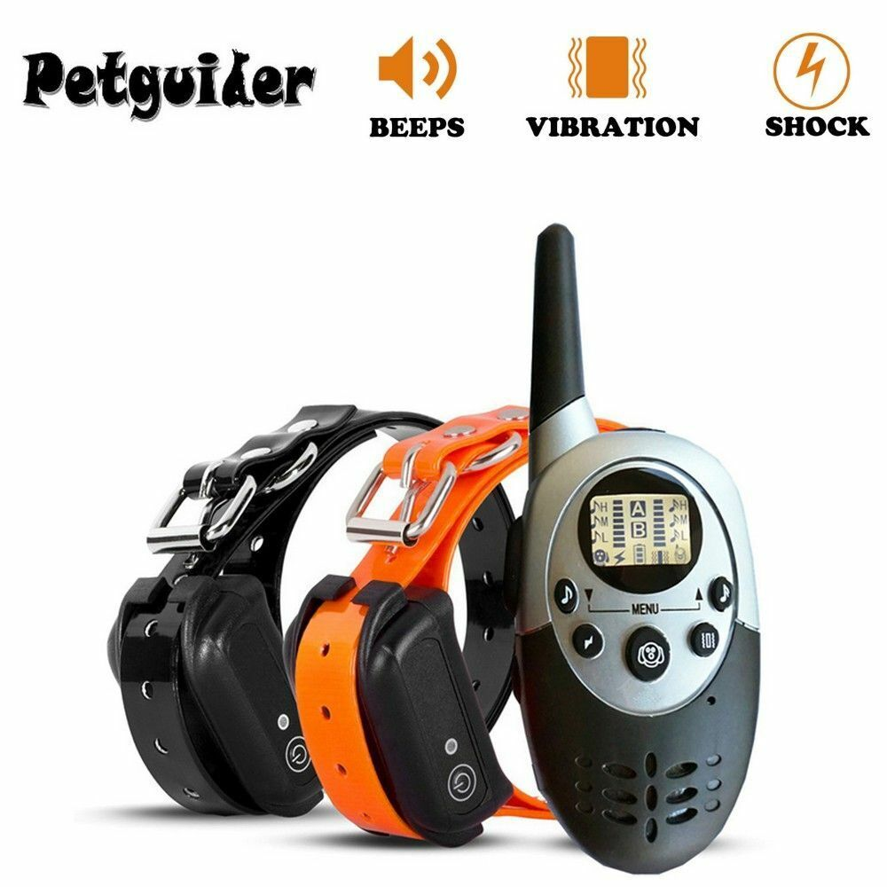 2 Set 1000M Dog Training Collar Waterproof Rechargeable Remote Electric Shocker