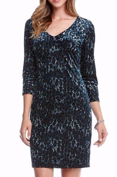 Karen Kane 4L71057 Negro Azul  Animal PRT Burnout Escote en V vestido de terciopelo estiramiento  128  Tienda de moda y compras online.