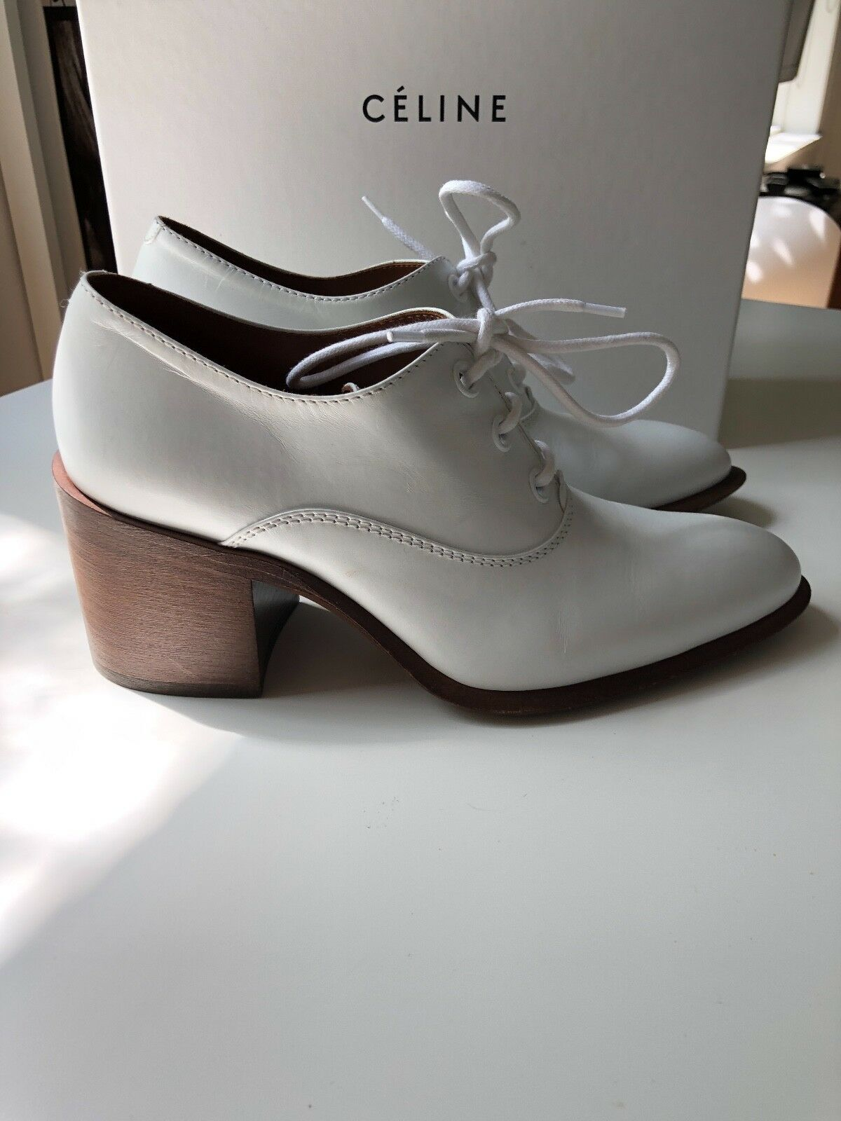 New Celine White Leather Oxford Lace-Ups - SIZE 36.5   US 6.5