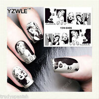 Full Wrap Water Transfers Nail Art Stickers Decals Black White Marilyn Monroe 86