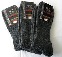 3 Paar Socken ohne Gummi Norwegersocken Wandersocken mit Wolle und Plüschsohle