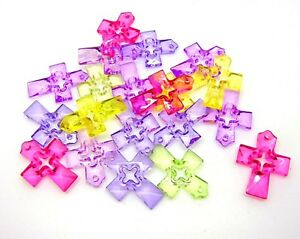 20-Pcs-Mixed-Colour-Acrylic-Cross-Pendants-34mm-Faceted-Jewellery-Craft-N30