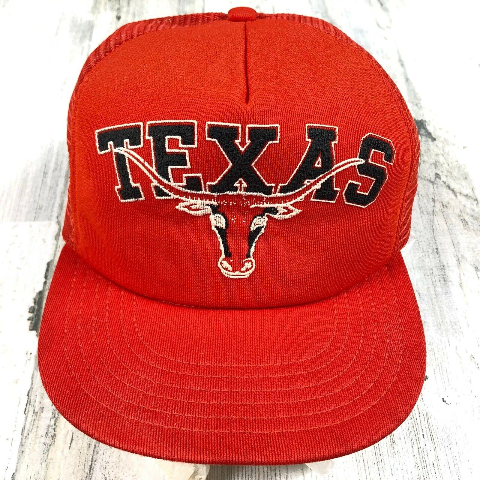 Vintage 80s Texas Longhorns Orange Snapback Meshback Trucker Hat Park Avenue USA