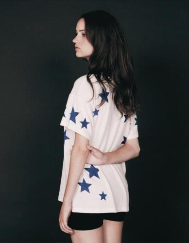 NWT Hye Park and Lune Stella Short Sleeve Navy Wht Women Star Top SOLD OUT XS S